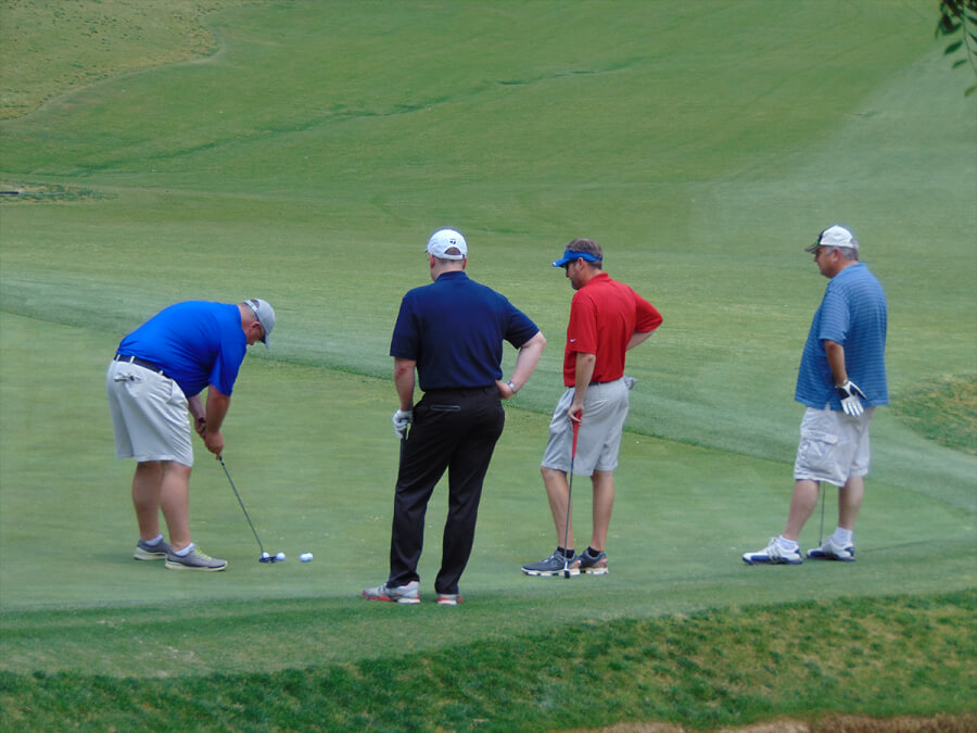 Concentrating on making the putt
