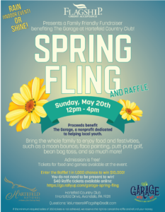 flier showing a flower and giving the event date and time