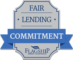 a shield with the words fair lending commitment