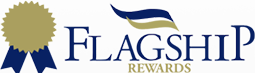 the words Flagship Rewards with a blue ribbon